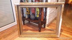 Öreg mélyített fa képkeret falc 48x63 cm