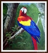 Reibl János - Papagáj ( nagyméretű olajfestmény )