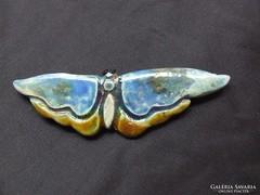 Raku kerámia ékszer, kitűző, ásvány szemű óriás pillangó