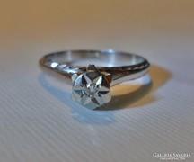 Szép régi 14kt fehérarany gyémánt gyűrű