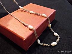 Antik ezüst nyaklánc, igazgyöngyökkel és filigrán díszitésse