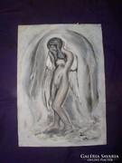 Angyal-akt -akvarell, közvetlenül a festőtől