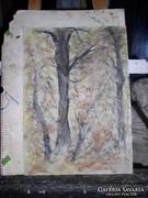 Csendes ősz,akvarell, közvetlenól a festőtől
