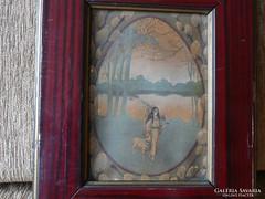 Régi Angyal báránnyal a tóparton, nyomat