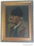 Pipás Bácsi olaj festmény