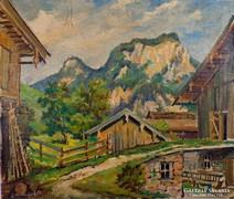 Alpesi táj!!   Jelzett olajfestmény 1940-50-es évek !!!
