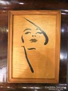 Art deco női portré- fa intarzia