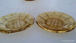 Borostyán sárga üveg süteményes tányér tálka tál pótlásnak