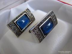 925 ezüst fülbevaló  kék kővel és markazittal