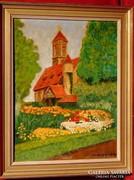 H.Sebert / Templom virágos kertel - Igényes munka 1939-ből