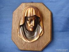 Antik bronz Madonna,Szűz Mária falikép,falidísz