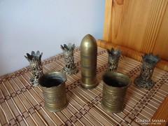 Réz töltényhüvely váza, tartó dísztárgyak