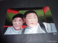Ázsiai fiúk, olaj-papír, BA jelzéssel