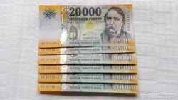 2016 évi 20.000.-Ft sorszámkövető Bankfriss UNC: