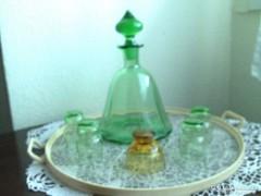 Pálinkás /röviditalos -  készlet ( fújt üveg )