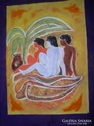 Napozók a pálmafa alatt akvarell,téma vázlat.LehoczkyJózsef