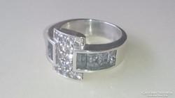 Ezüst gyűrű Akvamarinnal és fehér Topázzal