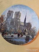 Limoges festett porcelán falitányér,Notre Dame,eredeti!