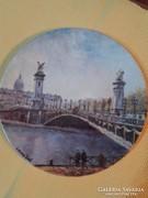Limoges porcelán festett falitányér.Louis Dali-Alexender-híd