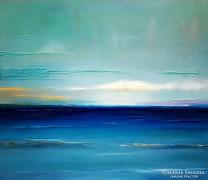 Kortárs absztrakt Olajfestmény ! Átszűrődő fények a parton .