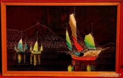 Hong Kong - Szépen megfestett selyemkép a 70-80-as évekből