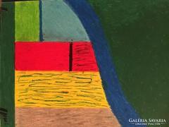 Kortárs pasztell kép, absztrakt festmény (Dolg)