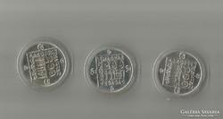1985. 3x 200 ezüst Ft, hód, teknős, vadmacska, Ritka Egyben