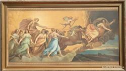 Antik nagyméretű, dekoratív olaj festmény nyomata.
