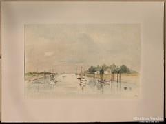Hajók a kikötőben (szép akvarell)