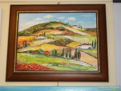 Toszkána festmény  -  műteremből-újdonság -barna képkeretben