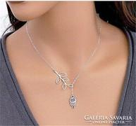 Gyönyörű állítható tibeti ezüst lánc bagoly medállal