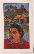 Póka György (1944-):Gauguin emlékére. Színezett linó