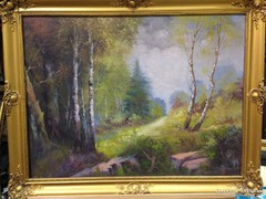 Jelöletlen olaj-vászon-Erdei út-festmény, blondel keretben