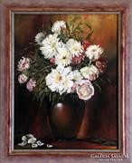 Demján Ilona: Gyönyörű olajfestmény virág csendélet szignált