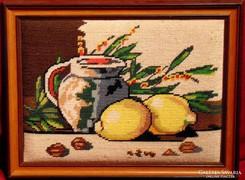 Kompozíció citromokkal - Szépen elkészített gobelin kép 1980