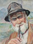 Pólya Edit: Öreg halász c. olajfestmény az 1930-as évekből
