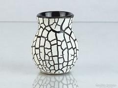 0K851 Retro repesztett mázas kerámia váza 6 cm