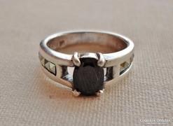 Szépséges antik onix markazit ezüst gyűrű
