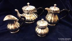 Antik ezüst gyönyörű kévés és teáskészlet,fa nyéllel,jelzett