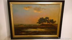 Tájkép /Napszálta/ Fedor van Kregten /1871-1937/ Olaj-vászon