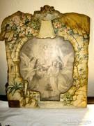 Régi falemezre kasírozott  szentkép 28 cm X 23 cm