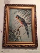 Régi(olaj-farost) festmény: Sándor papagáj