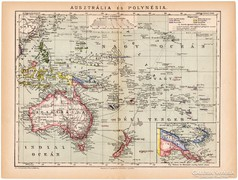 Ausztrália és Polynésia térkép 1892, eredeti, antik