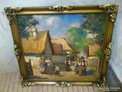 Szép vidéki témájú  kis festmény alakokkal