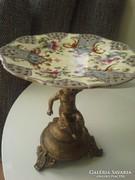 Zsolnai ? Antik puttós-áttört kínáló tál, asztalközép
