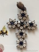 Csodálatos kék-fehér köves antik ezüst medál