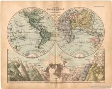 Világtérkép, a Föld féltekéi 1893, eredeti, német