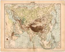 Ázsia hegy- és vízrajzi térkép 1893, eredeti, német, antik