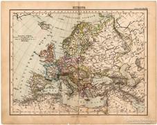 Európa térkép 1893, eredeti, német nyelvű, antik