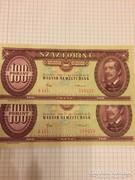 100 forint 1984 2db UNC sorszamkovetett, gyonyoru pár!!!